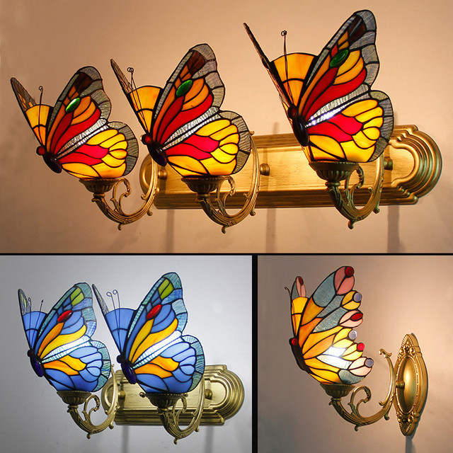 FUMAT Butterfly Wall Lamps Stained Glass led Light for Living Room Bedside Bedroom Indoor Lights Fixtures Corridor Bar