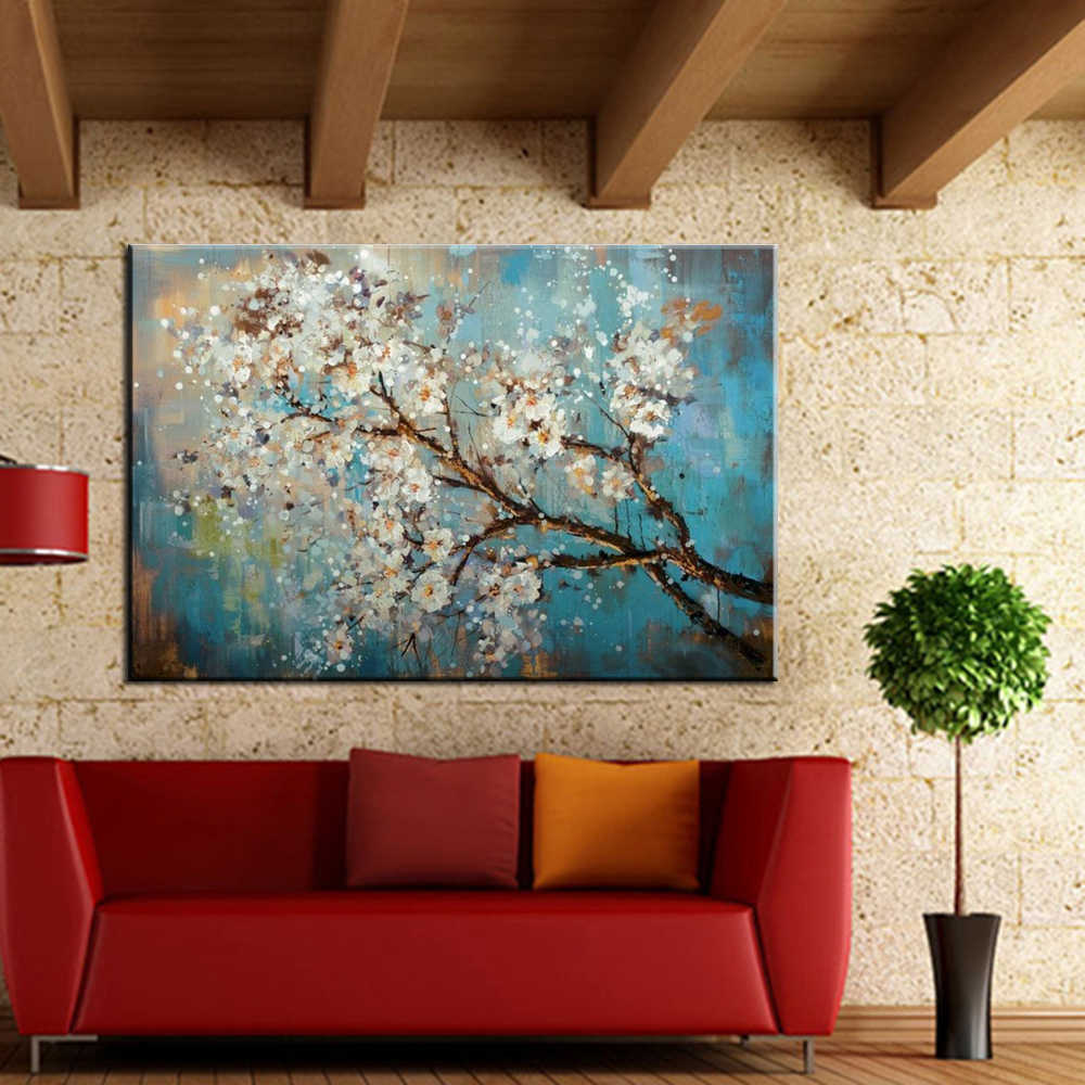 Mintura 100% ручная роспись цветы и дерево Рисование Морден картины маслом на холсте настенные картины для жилая комната Домашний Декор без рамки