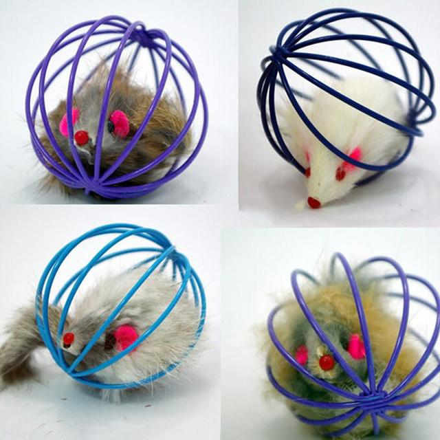 Randomly Funny Pet Kitten Cat Playing Mouse Rat Mice Ball Cage Toys Home Gatos Jouet Chat Juguetes Para Gatos Katten Speelgoed mouse in a ball funny cat toy Mouse In A Ball Funny Cat toy HTB1gMFUdQKWBuNjy1zjq6AOypXaI
