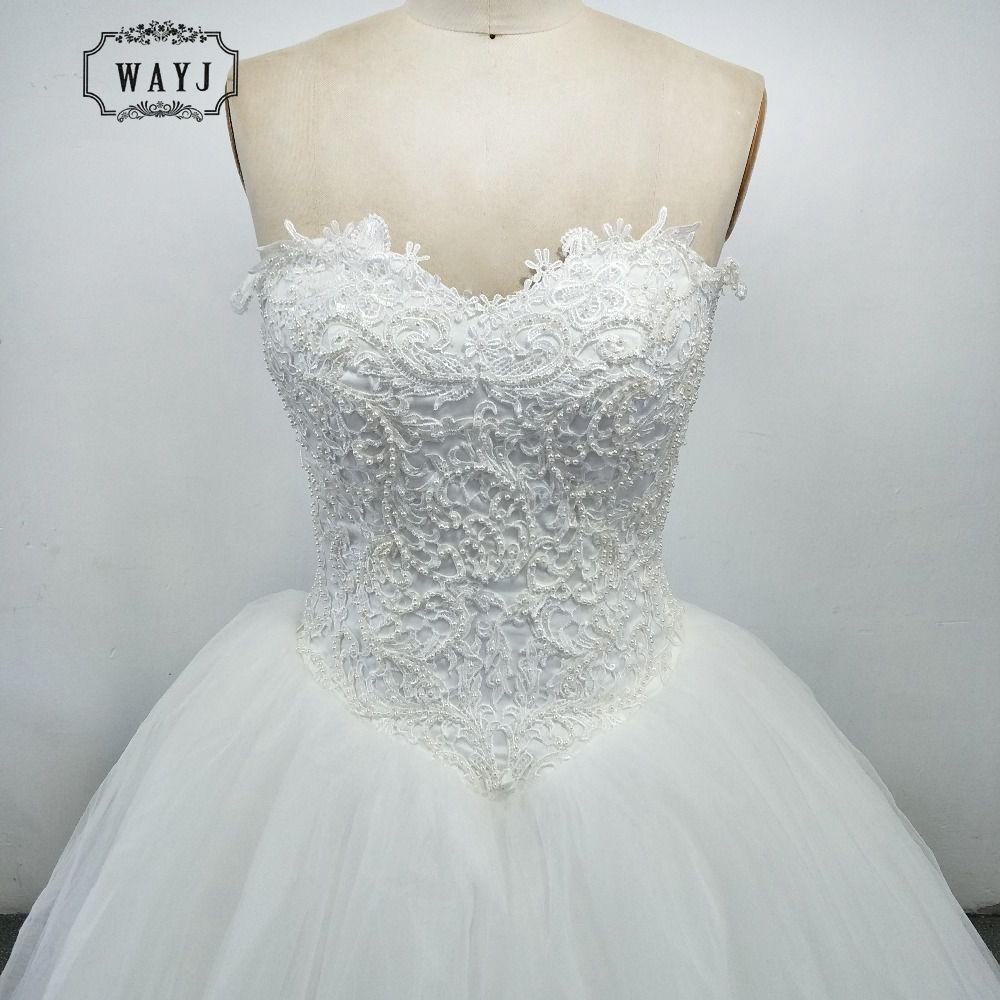 WAYJ New Luxury Ball Gown Wedding Dress 2019 Beading Pearls Strapless 5-layer Tulle Back Lace Up Vestido De Noiva 2019