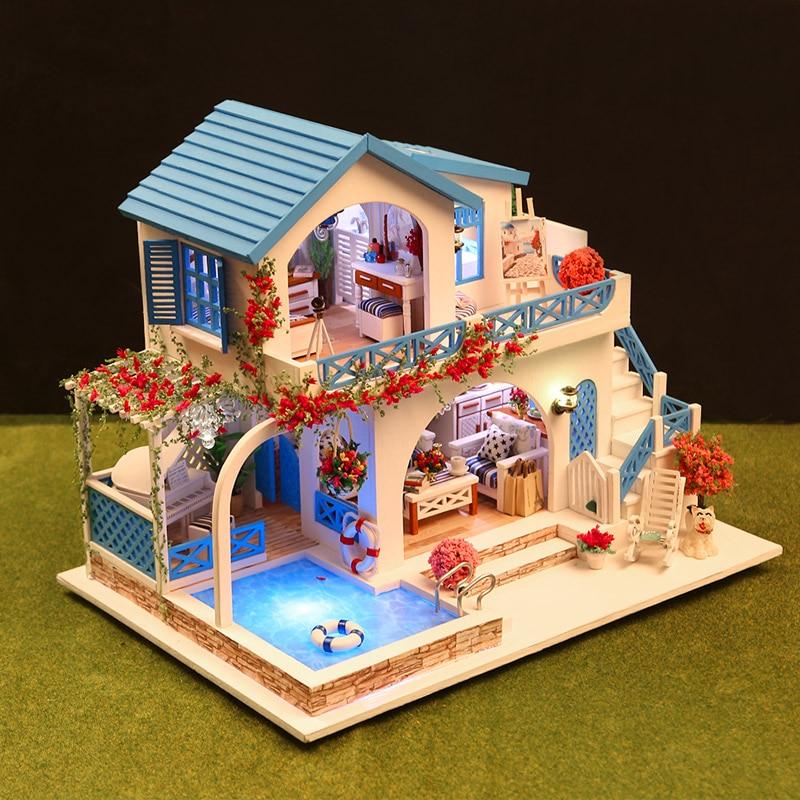 Casa de Muñecas Muebles Diy con Piscina Juguetes de Niña para - Muñecas y peluches - foto 5