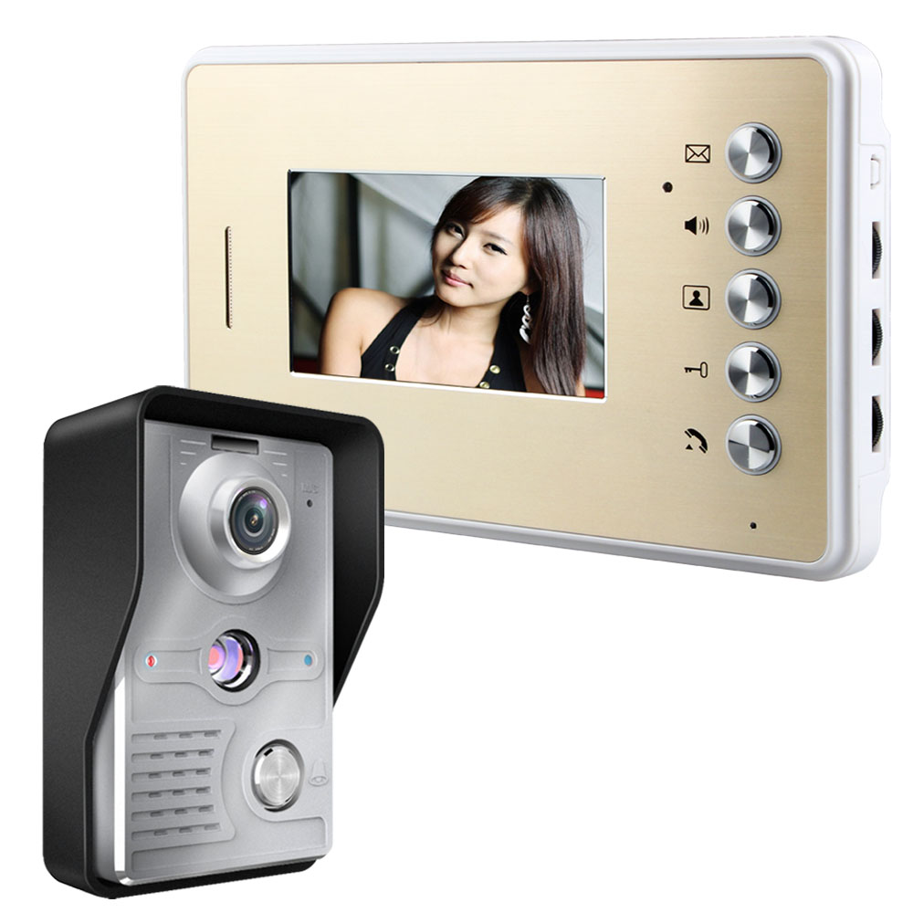 Mountainone Waterproof 4.3 color TFT LCD Video Doorbell One camera + One Monitor Aluminum alloy Indoor unit doorphone intercom 7 inch video doorbell tft lcd hd screen wired video doorphone for villa one monitor with one metal outdoor unit night vision