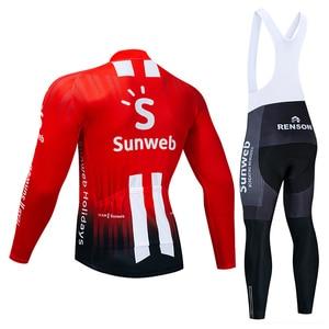 Image 3 - 2019 Pro Team SUNWEB Cycling Jersey 9D Bib Set MTB Uniform Bike Clothing Mens Winter Thermal Fleece Bicycle Clothes Cycling Wear