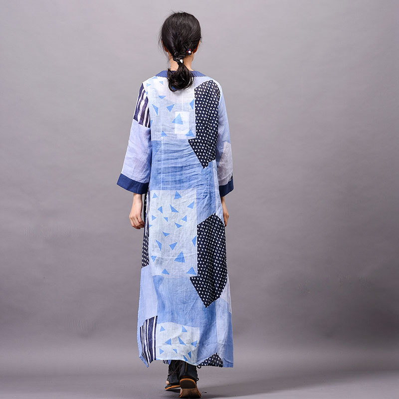 Ramie Women dress Summer cool New arrival Printed Buckle Embroidered speclic button personality vintage elelgant large size Robe - 5