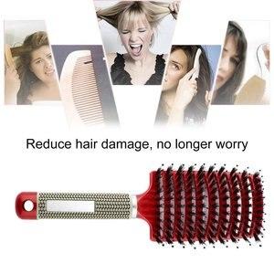 Image 2 - פרו נשים שיער קרקפת עיסוי מסרק זיפי & ניילון מברשת שיער רטוב מתולתל Detangle שיער מברשת לסלון סטיילינג כלים