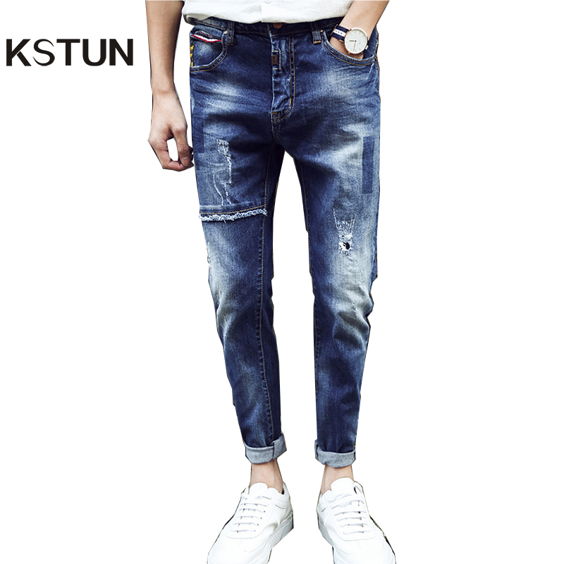Famous Brand Jeans Men 2017 Broken Patchwork Slim Fit Pencils Pants Ripped Jeans For Man Biker Denim Trousers Pockets Designer 2017 smart home crystal glass panel wall switch wireless remote light switch us 1 gang wall light touch switch with controller