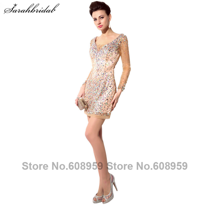 Sexy Long Sleeve Illusion Short Prom Dresses 2017 Luxury Crystal Beaded Cut Back Evening Gown Party Real Photos SY006