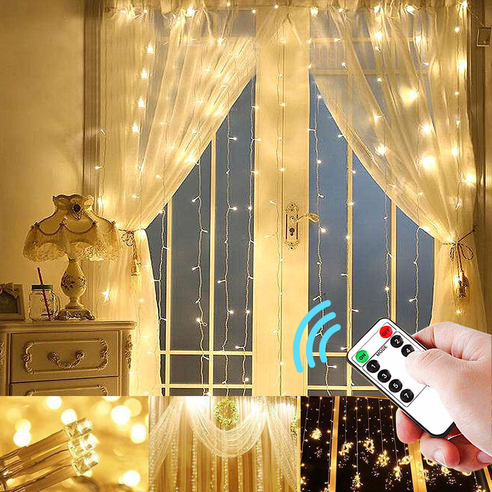 3x3m/6x3m Curtains Garland String Lights Remote Control 8 Modes Lighting LED Fairy Light Home Patio Garden Light Chain Outdoor