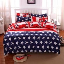Casa Stars Stripes EE.UU. Bandera 3 Unids ropa de Cama Fija Juego de Cama ropa de Cama Plana Cubierta Del Edredón Funda de Edredón Funda de Almohada