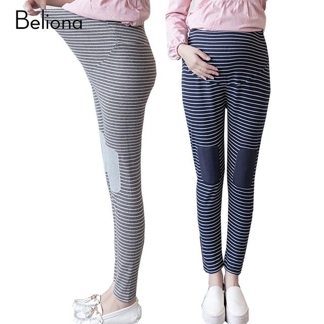 Horizontal Stripe Mulheres Grávidas Leggings Cintura Alta Estiramento Calças de Maternidade para A Gravidez Roupas Plus Size Calças das Mulheres