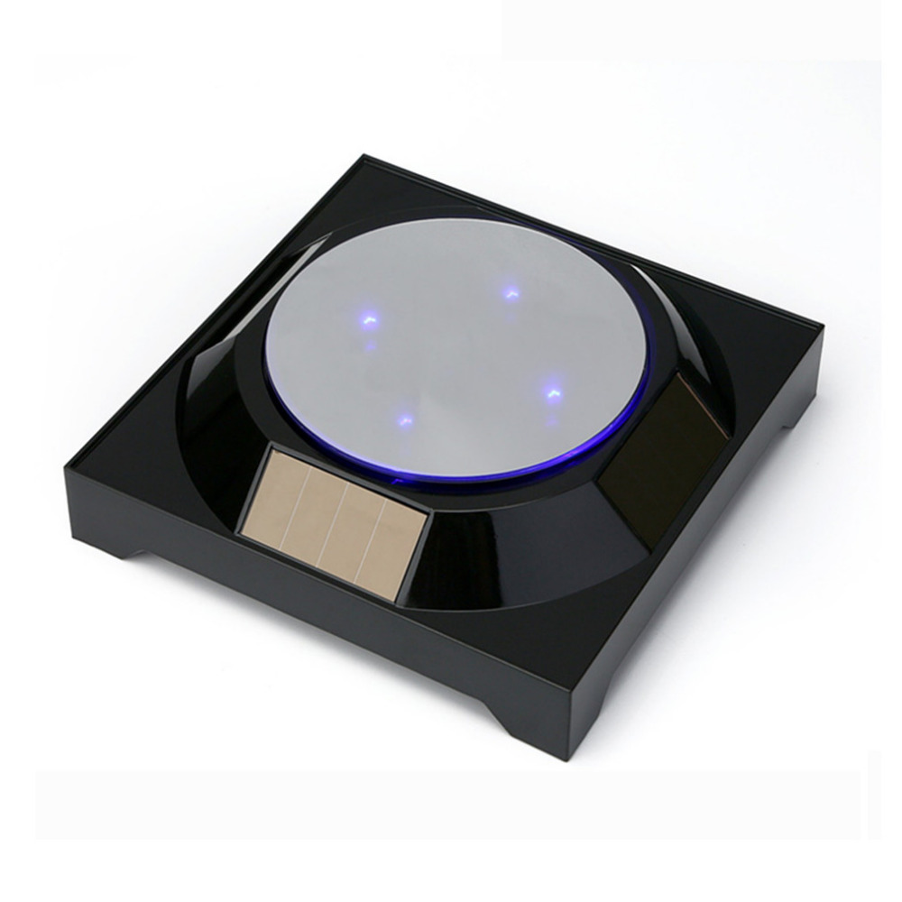 18cm Mirror Solar Powered Display Stand Turntable Frame Shows The Turntable Jewelry Jade Phone Watch Glasses Accessories