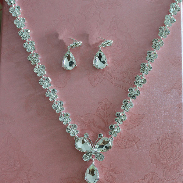 Rhinestone Crystal Necklaces+Earring Stick Bride Jewelry Sets for Bridal Wedding