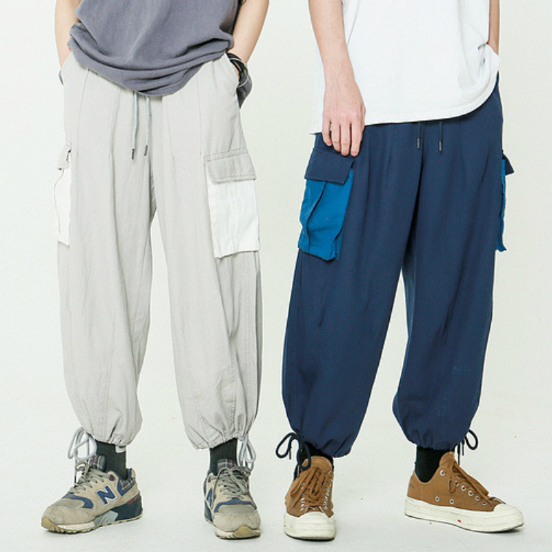 Men Calf-length Baggy Cargo Pants Harajuku Loose Fit Cotton Harem Jogger Pants Elastic Cuffs messenger bag