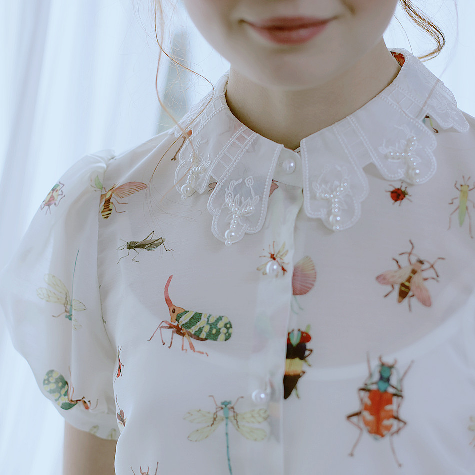 Jessica's Store Summer Original Design Women High Quality Painting Insect  Print Embroidery Turndown Collar White Chiffon Shirt