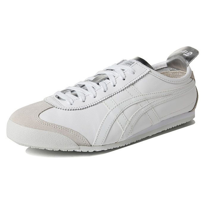 pretty nice df0e0 17f33 US $115.0  ONITSUKA TIGER MEXICO 66 Men Women Shoes White silver Leather  Rubber Hard Wearing Travel Street Low Sneakers Badminton Shoes-in Badminton  ...