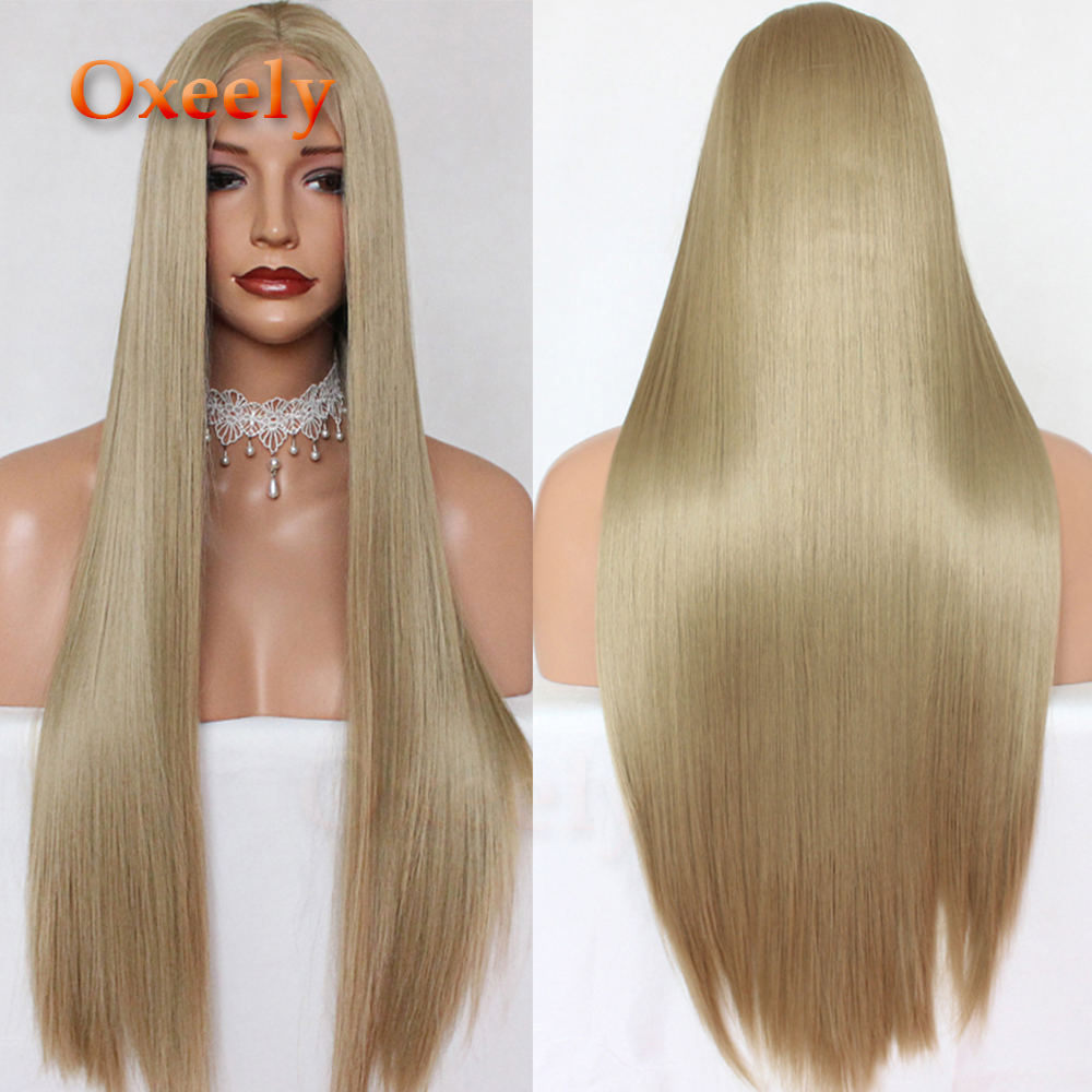 Oxeely Platinum Blonde Long Straight Hair Synthetic Lace Front Wigs Glueless Brown Long Silky Straight Lace
