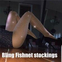 Tights Women Stocking Fishnet Pantyhose Glitter Stockings Female Sexy Transparent Lenceria Rhinestone Hosiery SW065
