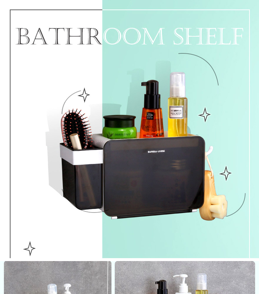 Bathroom Accessories Organizer Wall Cabinet Shampoo Holder Shower ...