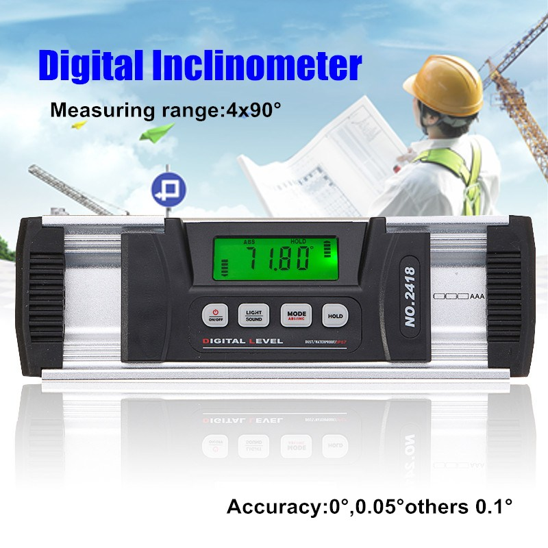360 Degree Digital Protractor Inclinometer Level Box Level Measuring Tool Electronic Angle Finder Angle Meter With Magnetic Base 400mm 16in backlight lcd digital protractor spirit level angle meter inclinometer angle finder measuring tool