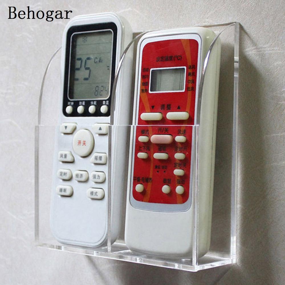Behogar 2-слот прозрачный акриловый настенный стол ТВ Кондиционер дистанционного Управление для хранения Организатор Стенд защиты сумка