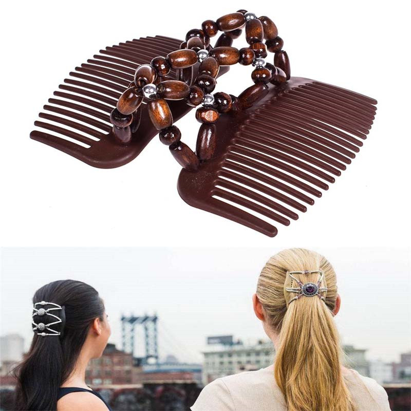 1 Pcs Natural Wood Elastic Hairpin Stretch Hair Comb Vintage Beaded Magic Hair Comb Clip For Women Girls Styling Tools