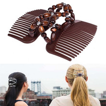 1 Pcs Natural Wood Elastic Hairpin Stretch Hair Comb Vintage Beaded Magic Clip For Women Girls Styling Tools