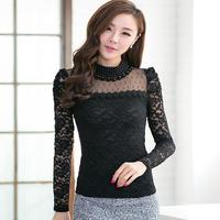 Women Korean Blouse Long Sleeve Pearl Beaded Lace Shirt Autumn Winter 2017 High Collar Lace Crochet