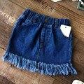 Девочки свободного покроя джинсовые юбки девушка мини-мило кисточкой юбка дети all-матч жан юбки малыша одежда