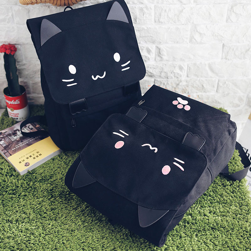 cartoon canvas backpack women School Backpacks cat SchoolBag Children School Bags for Teenage girls female Travel shoulder bag