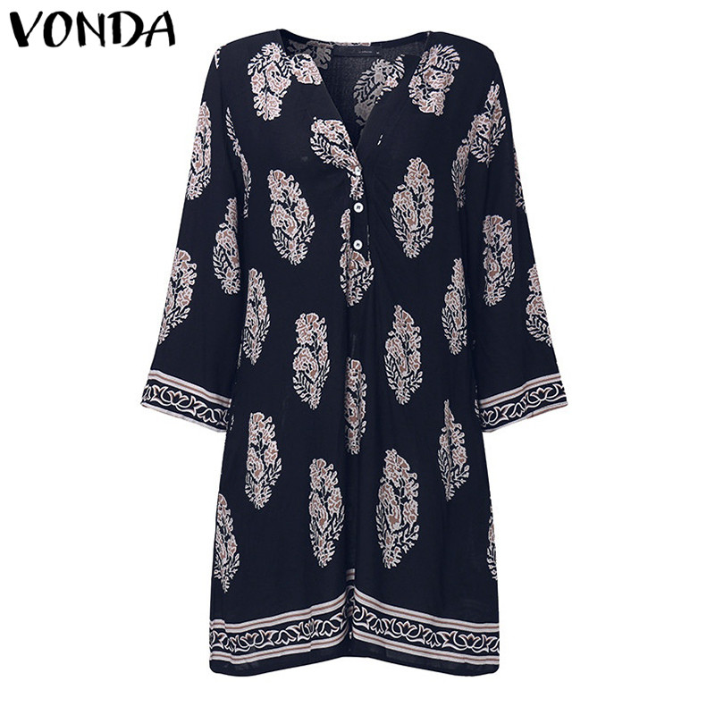 VONDA Maternity Clothes 2018 Summer Pregnant Women Vintage Printed Mini Dress Casual Loose Long Sleeve Pregnancy Vestidos 5XL