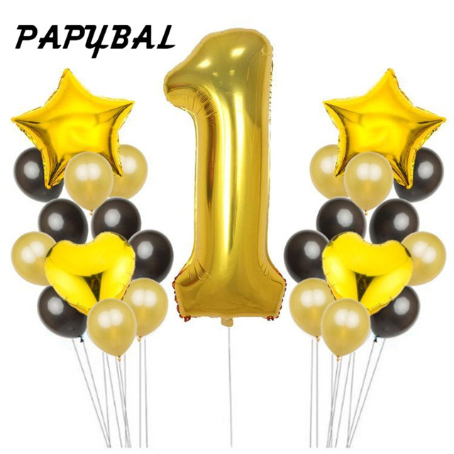 1 2 3 4 5 6 7 8th Birthday Balloons Air Inflatable Latex Gold Baby Shower Decoration Kids Party Favors Boy Girl Ballon