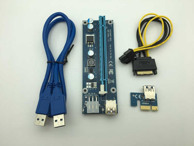 006C PC PCIe PCI-E PCI اكسبريس الناهض بطاقة 1x إلى 16x USB 3.0 كابل بيانات SATA إلى 6Pin IDE موليكس الطاقة توريد ل BTC ماكينة عامل المناجم