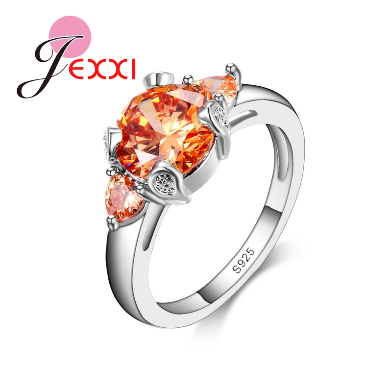 JEXXI Wholesale Romantic Fashion Engagement Ring Warm Champagne Shiny CZ Cubic Zircon Crystal Jewelry 925 Sterling Silver Rings