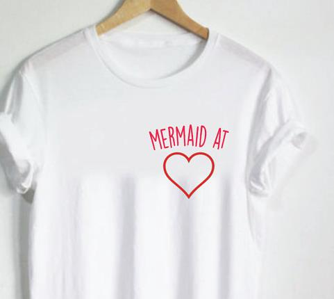 0e832db633 Women T shirt Mermaid at heart Pocket Letters Print Cotton Casual Funny  Shirt For Lady White Top Tee Hipster T-73