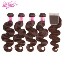 Queen Love Hair Pre-Colored #4 Color Peruvian Body Wave Hair 4 Bundles With Closure Non Remy Human Hair Extensions