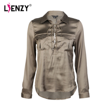 LIENZY 2017 Autumn Women Amy Blouse Bandage Long Sleeve Polo Neck Deep Neck ladies office shirts