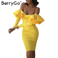 BerryGo Ruffle Autumn Dress Yellow Cold Shoulder Fashion Dress Vestidos De Festa Elegant Backless Sexy Winter