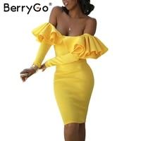 BerryGo Ruffle Autumn Dress Yellow Cold Shoulder Fashion Dress Vestidos De Festa Elegant Backless Sexy Winter