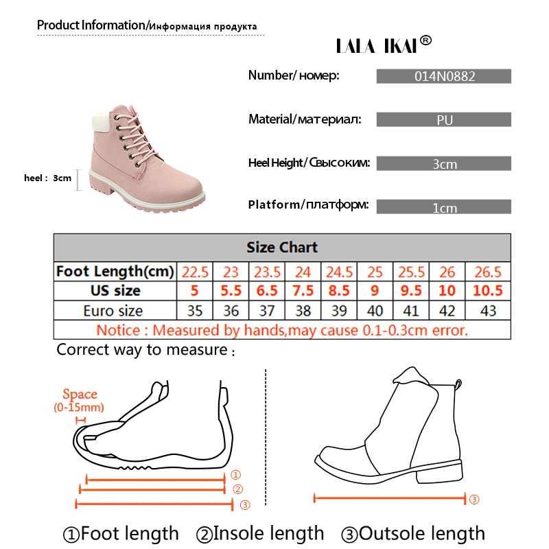 LALA IKAI PU Nubuk Kar Botları Kadın Artı Boyutu yarım çizmeler Yuvarlak Ayak Düşük Topuk Kürk Kadife Platformu Kışlık Botlar 014N0882 -49