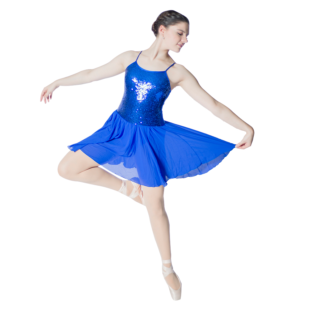 36571472df50d Adult Girls Lyrical Chiffon Skirts Sequin Bodice Leotard Costume  Performance Dancewear 9 Colors Available