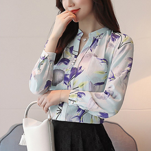 shintimes 2019 Chiffon Shirt Women Floral Top Womens Tops And Blouses Woman Clothes Button Ladies Stand Pockets Blusa Mujer