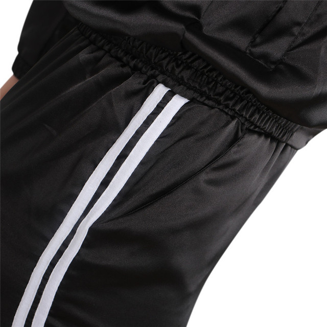 2 Piece Set Top And Pants Satin Striped Patchwork Zipper Sexy Sweatshirt Sweat Suit 5