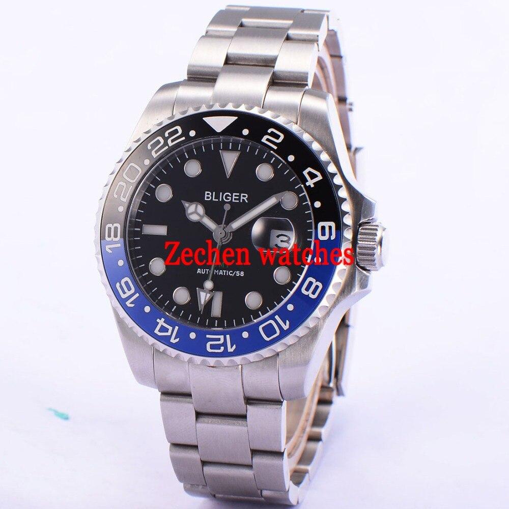 43mm Bliger Sapphire Glass GMT Luminous Automatic Date black dial Men Watch Wristwatch цена и фото