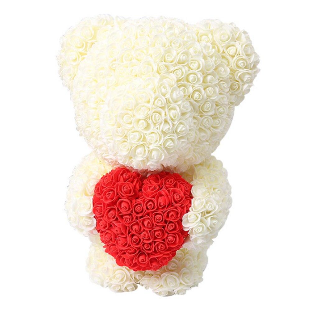Горячая Распродажа 40 см розовый медведь искусственные цветы для дома свадебный фестиваль DIY украшение для свадьбы подарок коробка венок своими руками подарок на день Святого Валентина - Цвет: Beige