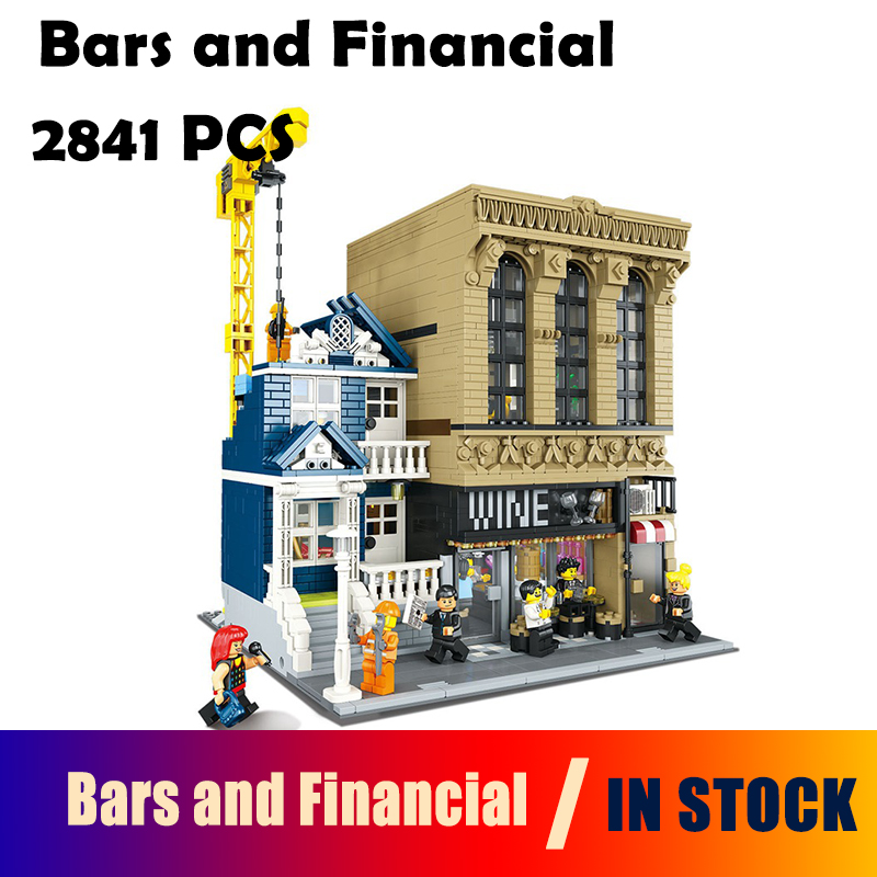 Compatible with Lego Creative MOC 15035 2841pcs The Bars and Financial Companies building blocks bricks toys for children building blocks super heroes back to the future doc brown and marty mcfly with skateboard wolverine toys for children gift kf197