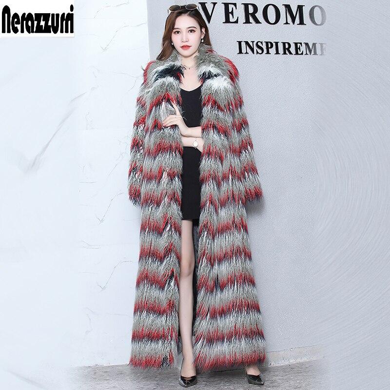 Nerazzurri Moelleux faux manteau de fourrure femme extra long progressive couleur furry faux fourrure de mongolie moutons de fourrure, plus la taille 5xl 6xl