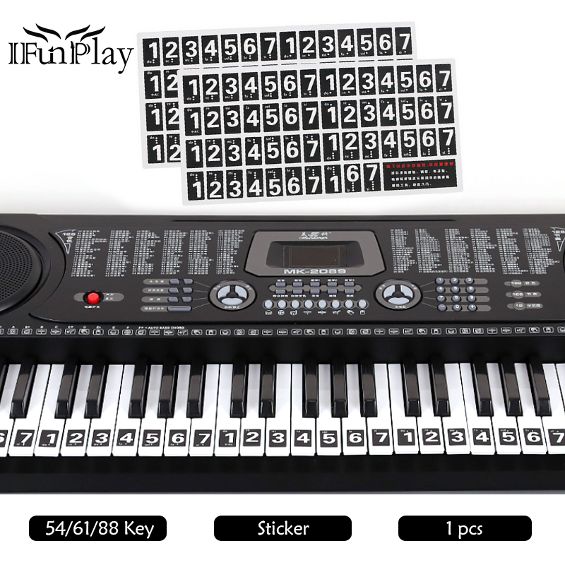 54 61 88 key electronic keyboard sticker diy hand roll keyboard decals 88 key piano stave note. Black Bedroom Furniture Sets. Home Design Ideas