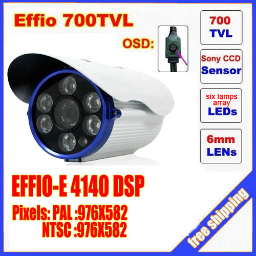 2014 direct selling real ccd bullet camera sony effio 700 tvl six lamps array led infrared osd menu  waterproof ir 30m c592h free shipping infrared video camera ccd sony effio e 700 tvl high definition surveillance camera six lamps array waterproof