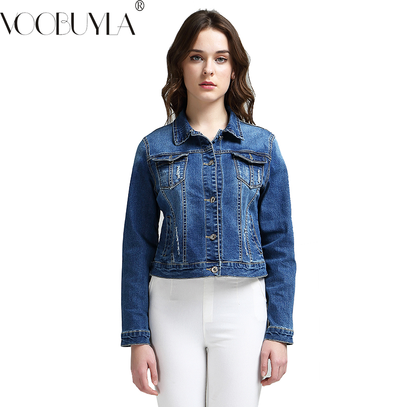 c9bb0f31108 VooBuyla Brand Fashion S 6XL 2017 Plus Size Women Spring Cotton Denim  Jacket Light Washed Woman Collar Long Sleeve Jeans Coats-in Basic Jackets  from Women s ...