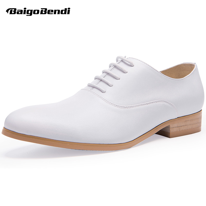 Men White High Heel Shoes Genuine Leather Lace Up Thick Heel Shoes Man Trendy Wedding Shoes Heighten Oxfords hight end full grain leather men lace up high heel shoes man thick heel black formal dress height increasing heighten shoes